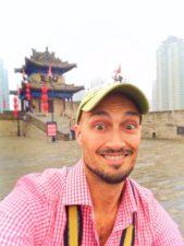 Rob Taylor biking on top of Xian City Wall 1