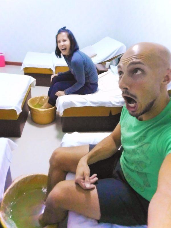 Rob Taylor doing footsoak with Chinese Massage Baoji 2
