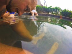 Rob Taylor in fish bath at Taibai Mountain Hot Springs Resort Baoji 1
