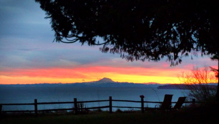 Sunrise with Mt Baker over Straight of Juan de Fuca from Domaine Madeleine 1