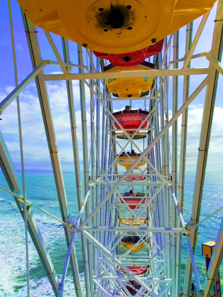 Riding on Ferris Wheel on Santa Monica Pier 2 V