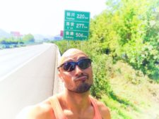 Rob Taylor on side of Chinese Highway Shaanxi 1