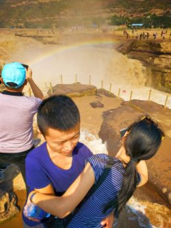 Visitors to Hukou Falls National Park Shaanxi 2
