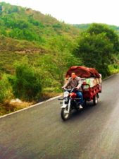Motorcycle on the road to Yanan Shaanxi