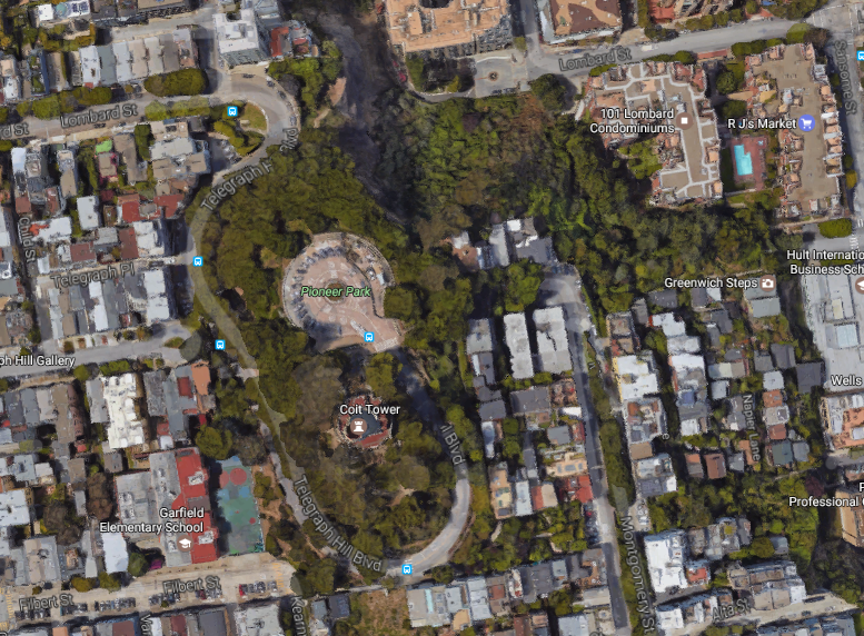 Telegraph Hill from Above map