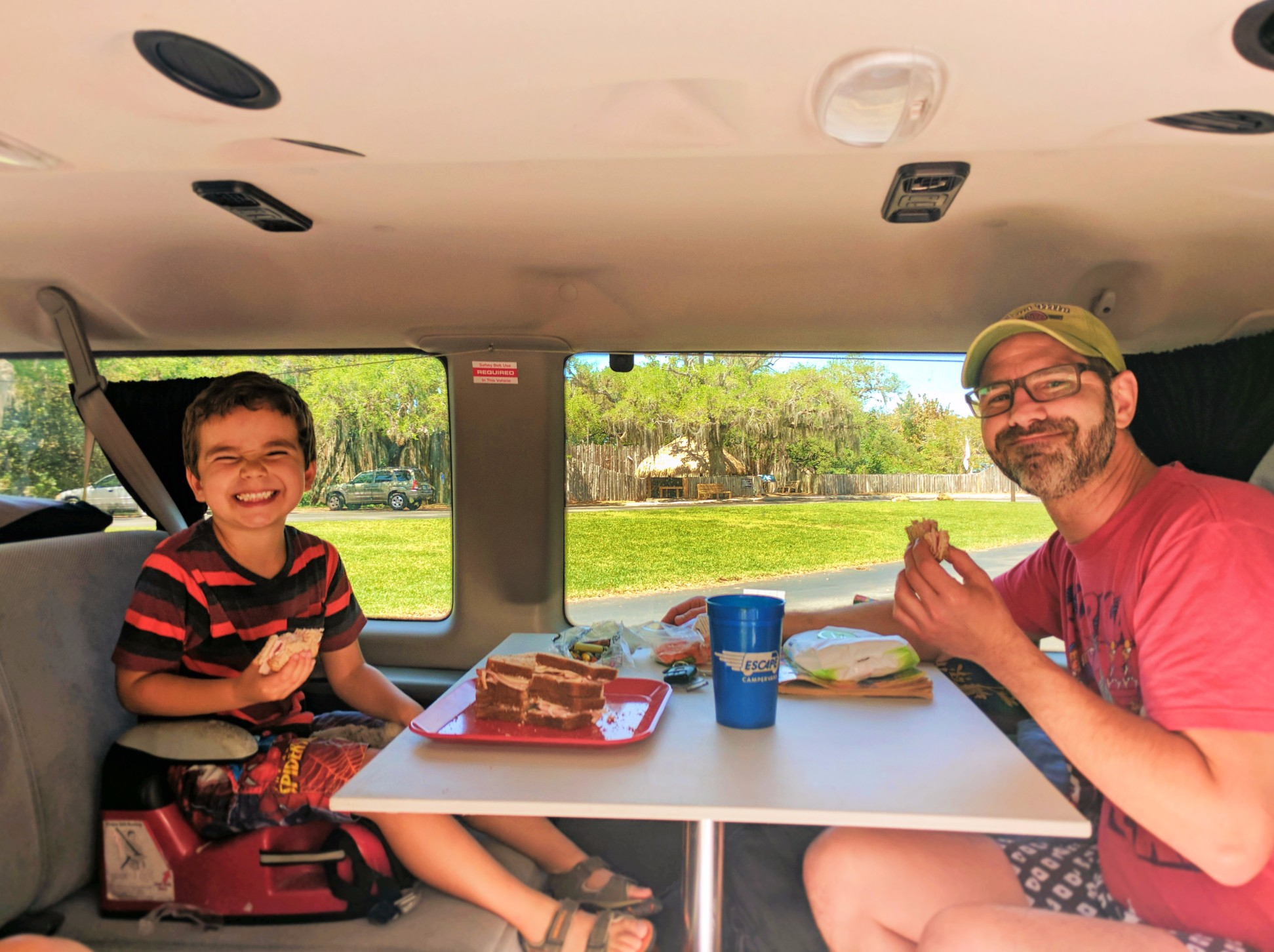 Taylor Family eating in Escape Campervan De Soto National Memorial Bradenton 1