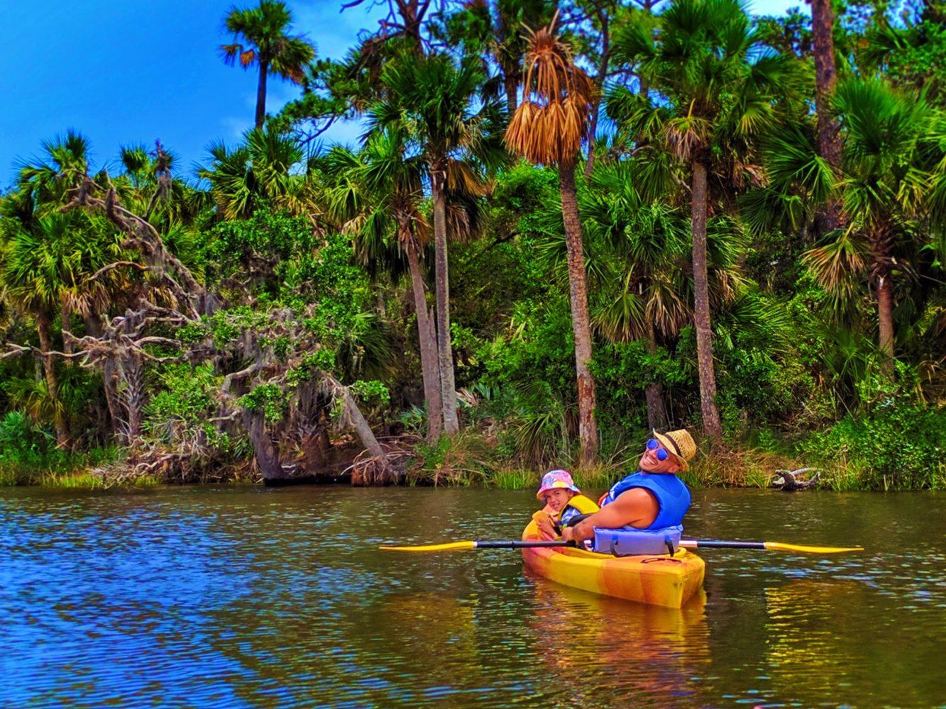 Taylor Family Kayaking In Tomoka State Park Daytona Beach