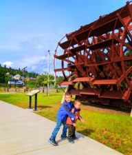 Taylor Family with Steamboat wheel at Waterfront Park Hood River 2
