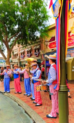 Colorful band in Town Square on Main Street USA Disneyland 1