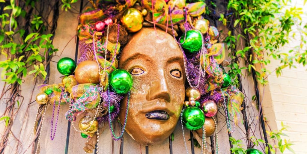 Decorated Mardi Gras mask at Carnival museum Mobile Alabama 1