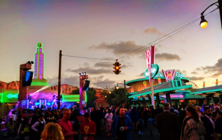 Flos V8 Cafe Cars Land Cars 3 Premiere after party at night Disneys California Adventure 1