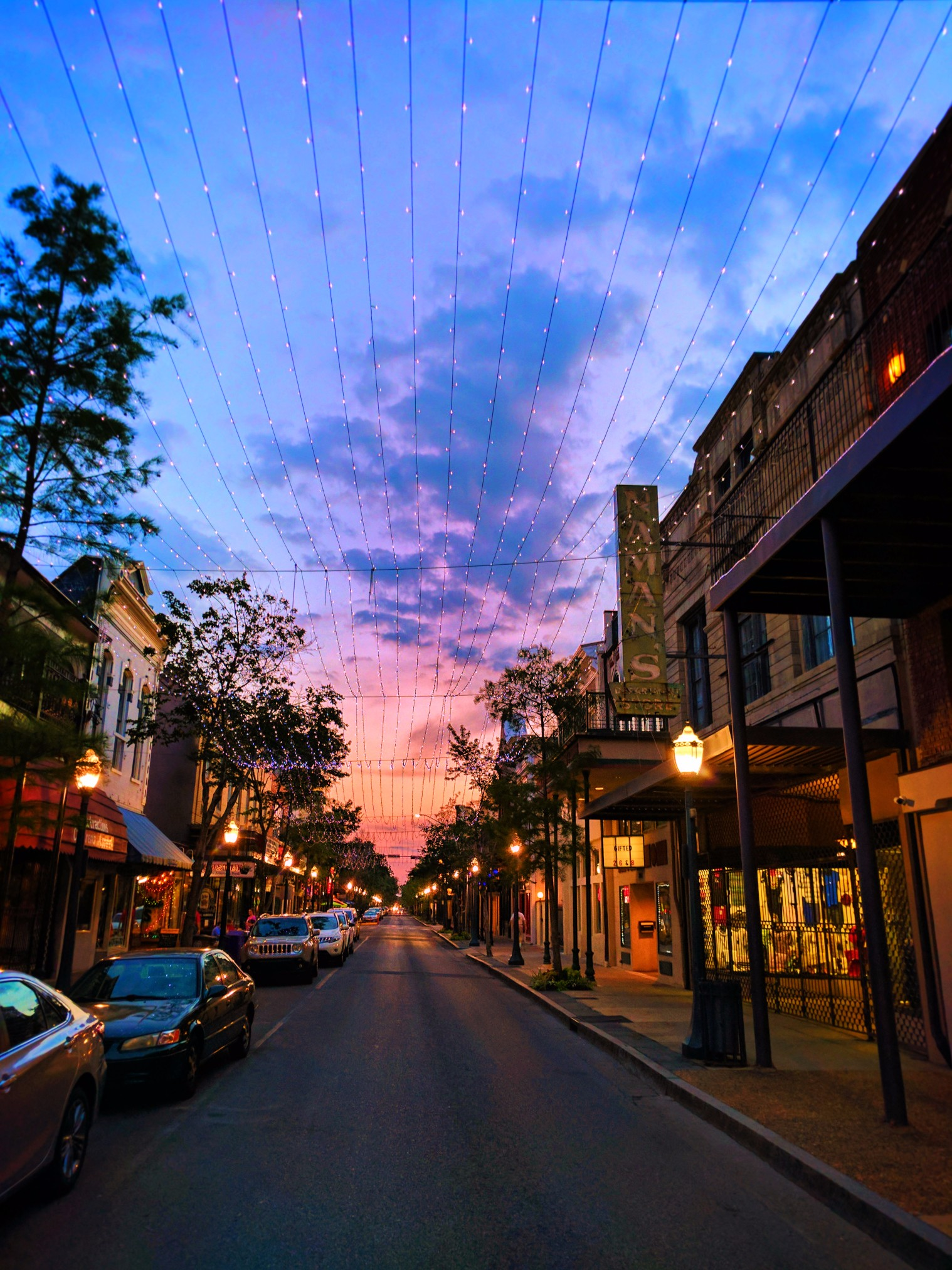 Historic District Dauphin St Downtown Mobile Alabama At Sunset 1 2