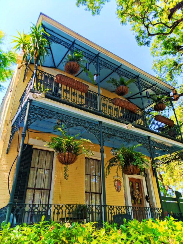 Historic Homes and Wrought iron balconies in Mobile Alabama historic district 1