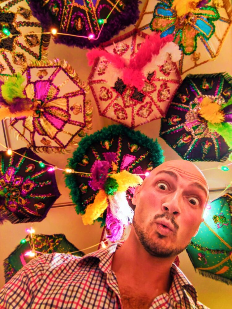 Rob Taylor and parasols in Carnival Museum Mobile Alabama 1