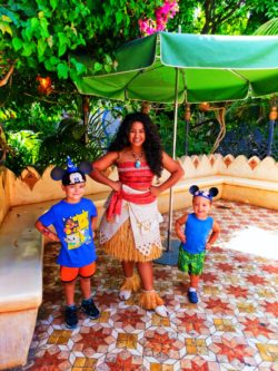 Taylor Kids meeting Moana in Adventureland Disneyland 6