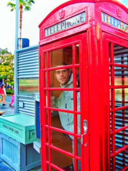 Chris Taylor in Phone Booth Hollywood Land California Adventure 1