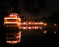 Mark Twain Riverboat at Night Frontierland Disneyland 1