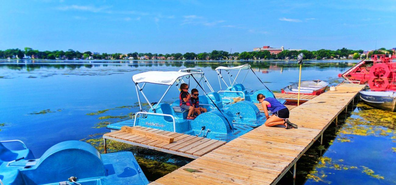 Taylor Family Paddleboating on Like Monona Madison Wisconsin 1