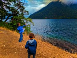 Taylor Family at Lake Crescent with Clouds Olympic National Park 1