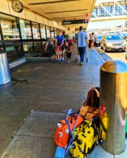 Taylor Family with REI and Trunki luggage at airport 2