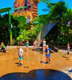 Taylor Family with Sprinkler fountain Bugland Disneys California Adventure 1
