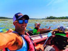 Taylor family Simply Amevie sunglasses Little Hotdog Watson hats kayaking with Wingra Boats Madison Wisconsin 2