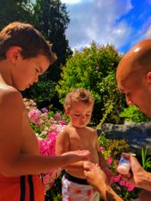 Taylor family using sunblock lotion 1