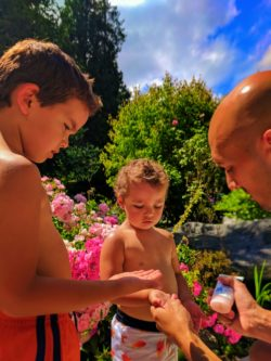 Taylor family using sunblock lotion 1