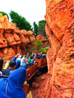 Train on Thunder Mountain Railroad signs Frontierland Disneyland 2