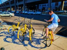 Taylor Family with Ofo Bicycles on Seattle Waterfront 4