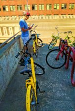 Taylor family with Ofo Bicycles in Fremont Seattle 1