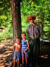 Taylor family with Park Ranger Grove of the Patriarchs Mt Rainier National Park 1
