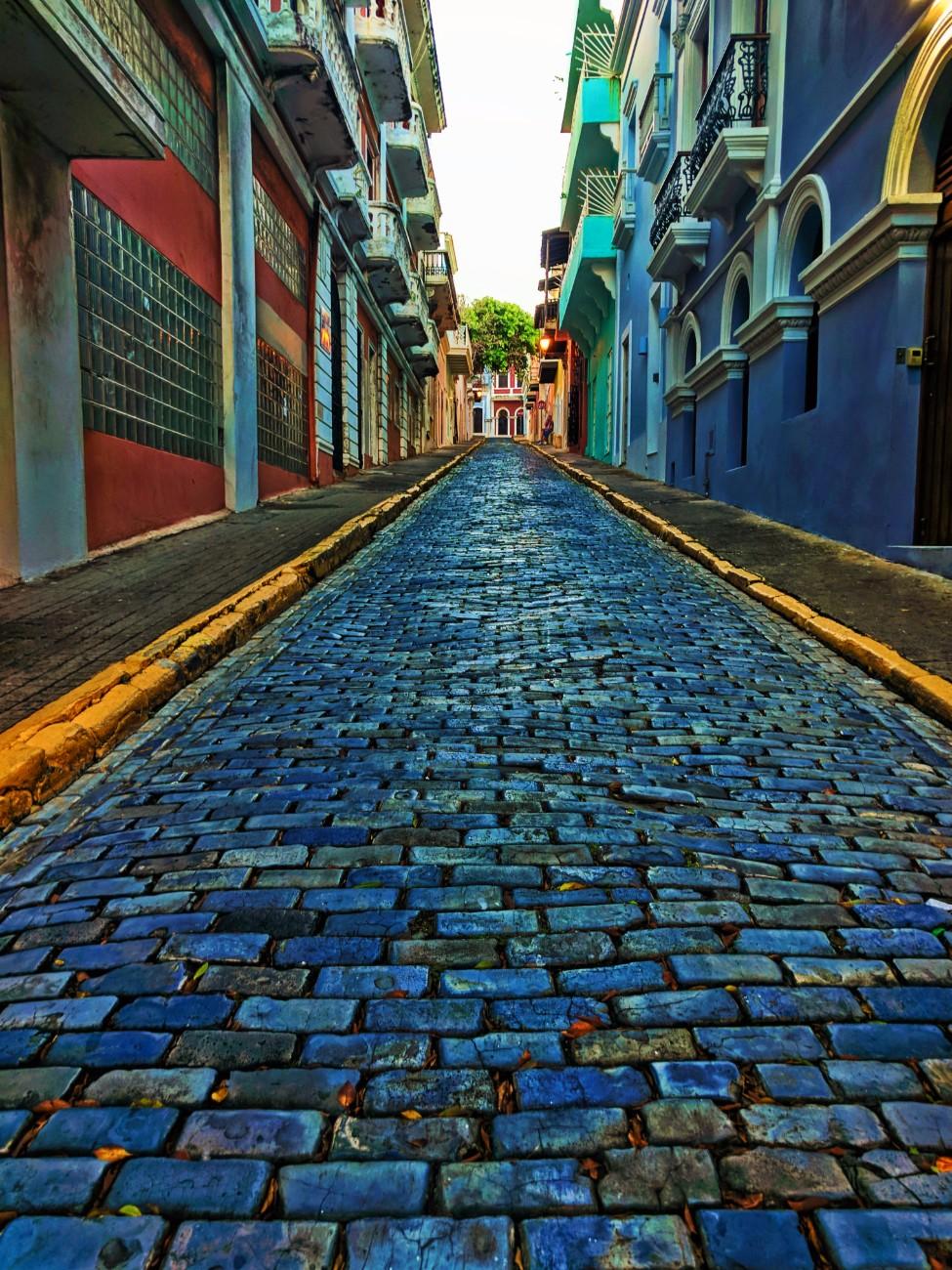 Blue Cobblestone street in Old San Juan Puerto Rico 3