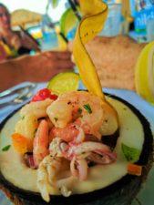 Ceviche lunch on beach at Isla Palomino El Conquistador Resort Puerto Rico 1