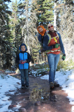 Taylor Family hiking at Two Medicine Lake Glacier National Park