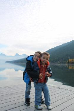 Taylor Family at Lake McDonald Glacier National Park morning