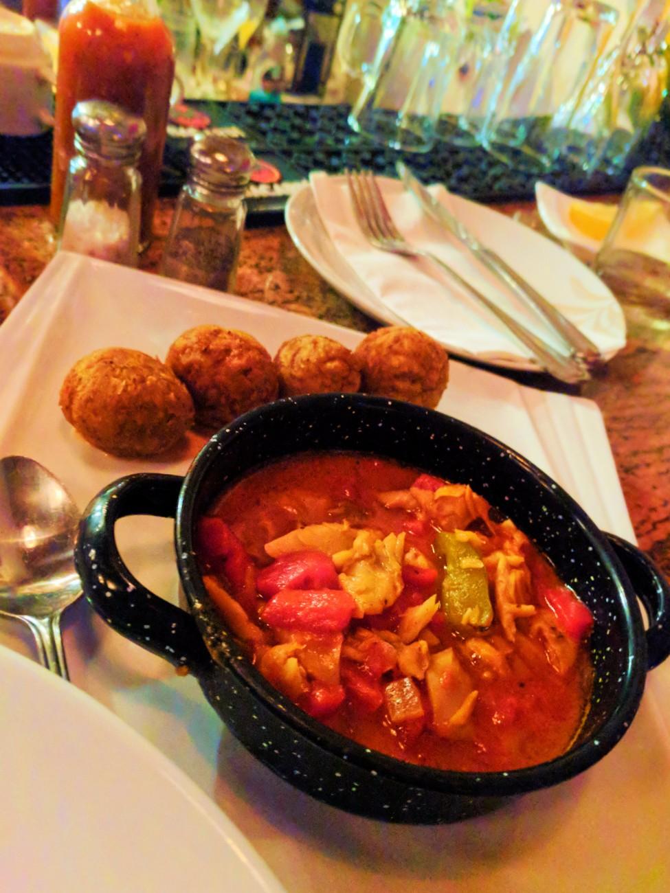Mofongito and fish soup tapas Old San Juan Puerto Rico 1