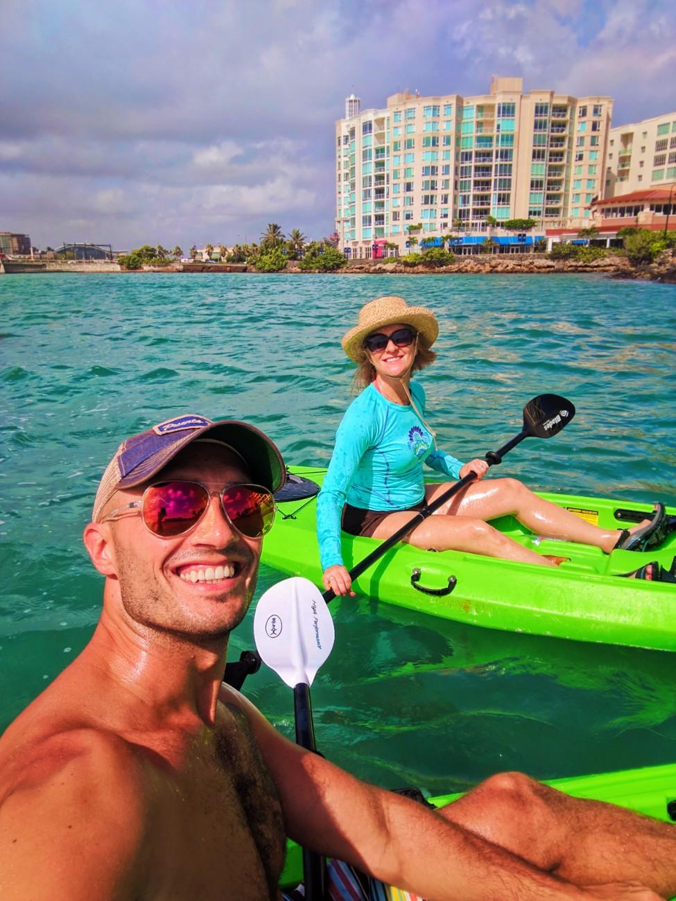 Rob and Maureen Kayaking on Laguna Condado San Juan Puerto Rico 2