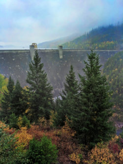 Hungry Horse Dam with Fall Colors Flathead County Montana 1