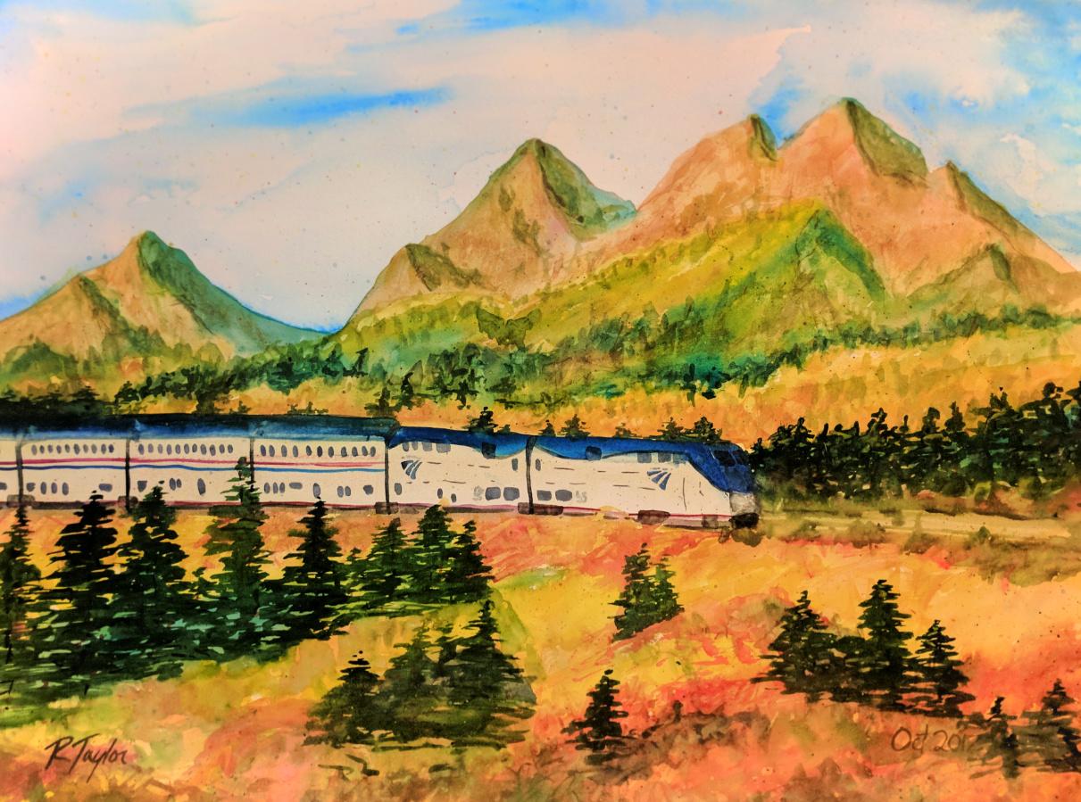 Rob-Taylor-Watercolor-of-Amtrak-Empire-Builder-passing-Glacier-National-Park-in-Fall-1.jpg