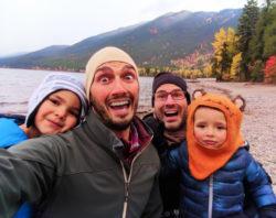 Taylor Family at Lake McDonald in fall at Glacier National Park 17
