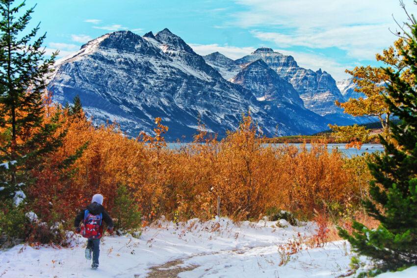 Taylor Family hiking at St Mary Lake Glacier National Park 1