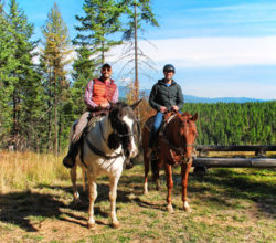 Taylor Family horseback riding at Bar W Guest Ranch Whitefish Glacier County 3
