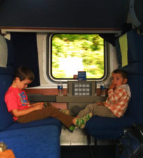Taylor Family in sleeping cab Amtrak Empire Builder 1