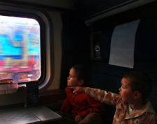 Taylor Family on Amtrak Empire Builder sleeping car 1