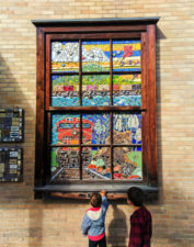 Taylor Family with mosaics downtown Whitefish Montana 1
