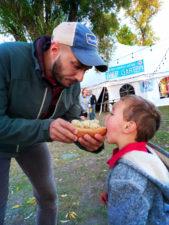 Taylor family with Bratwurst at Oktoberfest Whitefish Montana 1