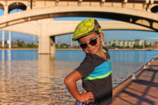 Taylor Family at Tempe Town Lake Kayaking under bridges 1