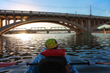 Taylor Family at Tempe Town Lake Kayaking under bridges 6
