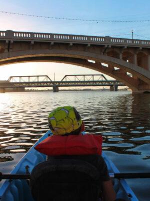 Taylor Family at Tempe Town Lake Kayaking under bridges 6